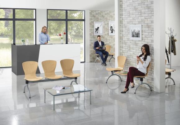 Bezoekersbank Tibo 2-Sitzer mit Tisch | aluzilver