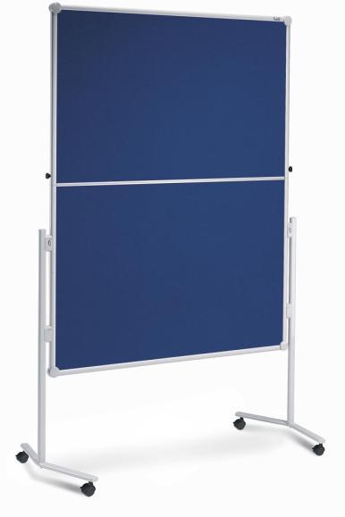 Presentatiebord PROFESSIONELL incl. set toebehoren textiel blauw/magneetbord wit | klapbaar